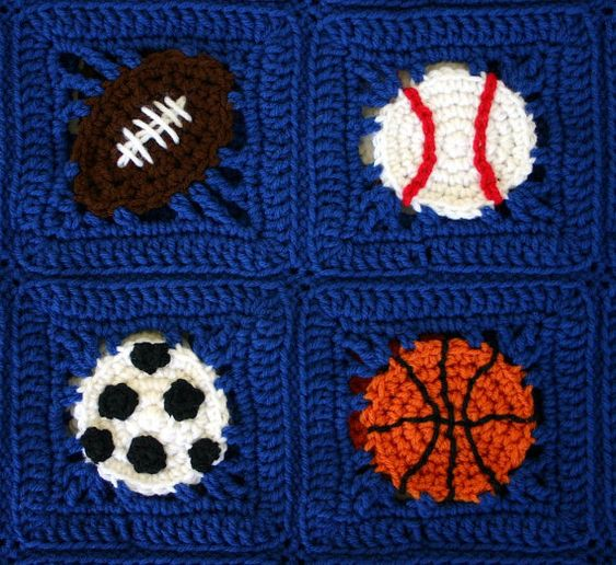 Crochet Pattern For Sports Blanket : Sports balls afghan PDF crochet PATTERN by ...