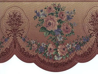 victorian rose wallpaper border flower rose swag vase