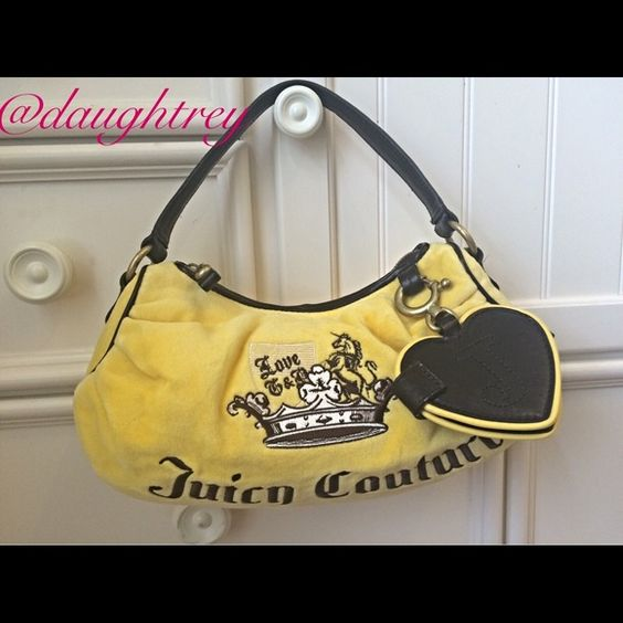 """Juicy Couture Handbag Host Pick 9/11 This little bag is sure to brighten your day. Canary yellow with gorgeous dark brown leather trim. 12"""" wide,  7"""" high and 3"""" thick. Has one zippered pocket in the inside plus a key fob. Mirror on the outside still has protective covering on it. New without tags. Juicy Couture Bags"""