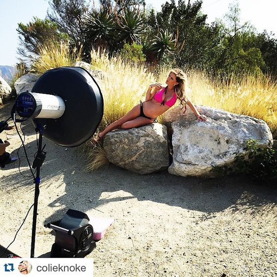 #BTS photo shoot with Colie Knoke, in our hot pink maternity to nursing bikini www.bikinimamas.com #maternityswimwear #nursingswimwear #maternitybikini