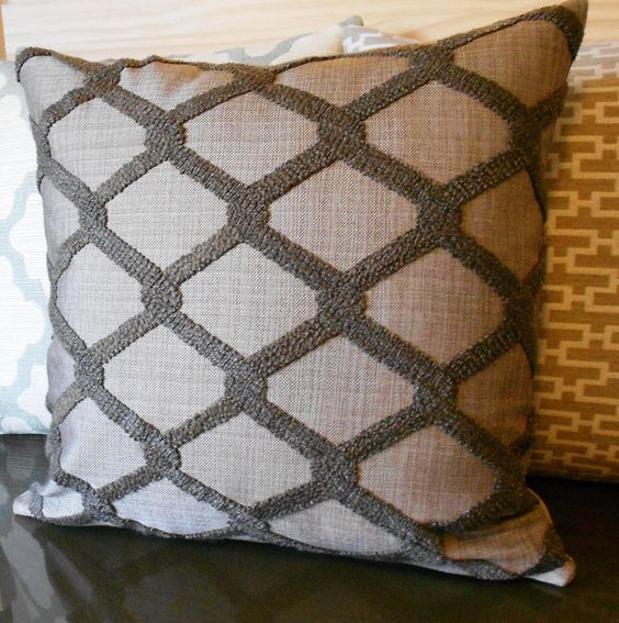 Brown tufted trellis decorative pillow cover by pillowflightpdx