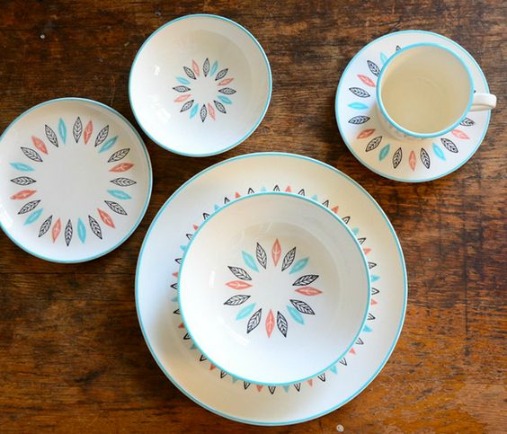 Nordic Mint Cup & Saucer  by Red Line Vintage //great pattern!!