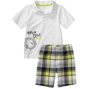 Child of Mine Carters - Baby Boys' 2- Piece Lion Polo and Short Set