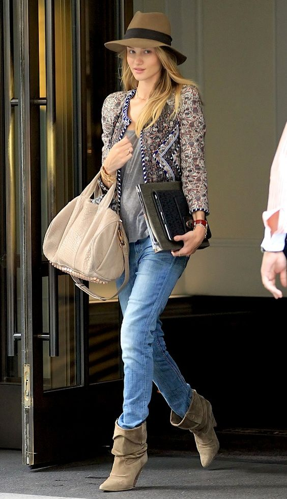 Jacket Boots Isabel Marant Hat Rag & Bone Bag Alexander Wang Rosie Huntington-Whiteley New York City: