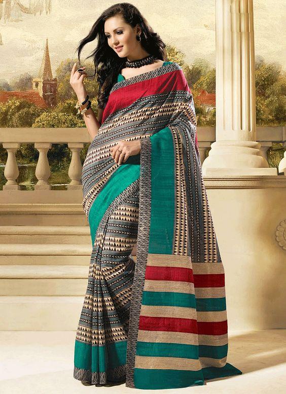 Urbane Grey & Cream Bhagalpuri Silk Saree