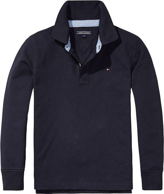 Klassisches Tommy Hilfiger langarm Poloshirt und Logostitching auf der Brust. In drei trendigen Herbstfarben erhältlich.96% Baumwolle, 4% Elastan...