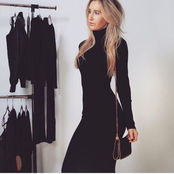 BACK IN! Black Turtleneck Sweater DressBoutique   Warm, Acrylics ...