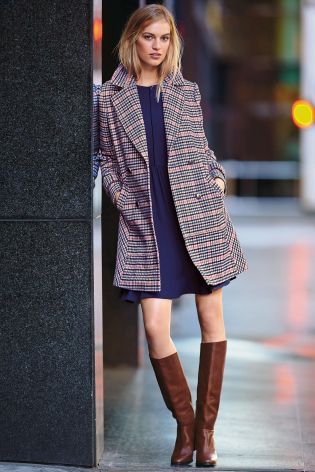 Buy Blue/Pink Check Coat online today at Next: Australia | Holiday