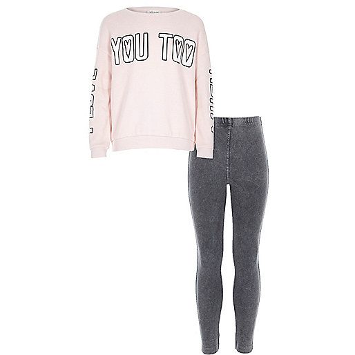 Girls pink heart you top and leggings outfit - sets - girls