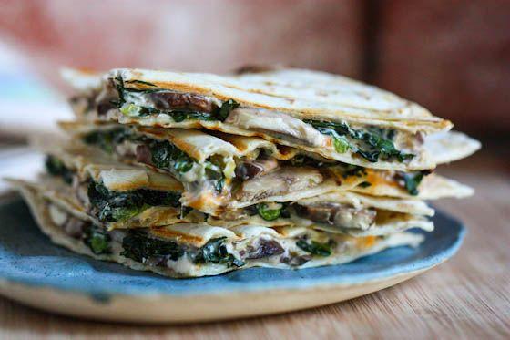 Creamy Mushroom and Kale Quesadillas (with greek yogurt)