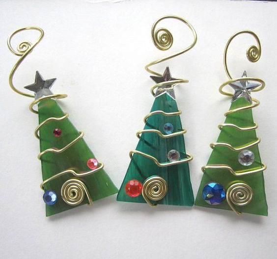 Green Tree Trio Glass Ornaments Wire Wrapped by glassartelements, $33.00