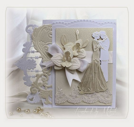 Card by DT member Mihaela with Collectables Orchid (COL1379), Creatables Bride and Groom (LR0345), Anja's Border Elegant (LR0344), Anja's Border Chique (LR0343) and Anja's Border (LR0300) by Marianne Design