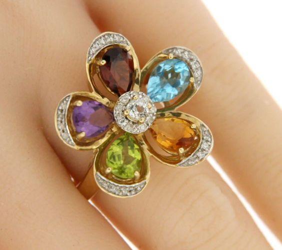 ▌Women's 14K Solid Gold Multi Color & 0.15 Diamond Flower Ring Size 7 »U318…