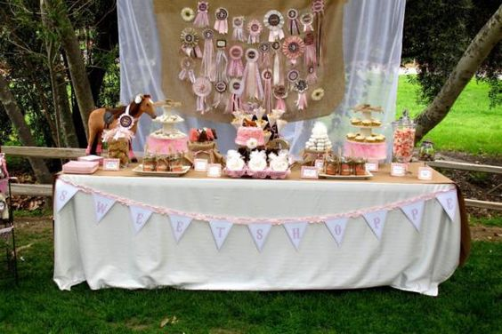 Horse Themed Birthday Party - I love the dessert table and so easy to do.