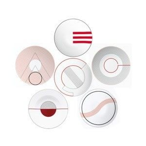 The timelessly modern design savvy of the original Jean Puiforcat monograms is showcased in this Limoges porcelain dinner service. The six sets of initials--CE, AO, OG, OS, OT, and YG--are distilled to their visual essence and rendered in bold red and black, in smooth waves and strong lines. The combination of patterns creates a unique table setting every time.   Dishwasher safe. $0.01