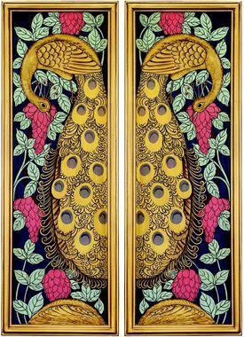 Art Nouveau Peacock Hand-Painted Wall Panels
