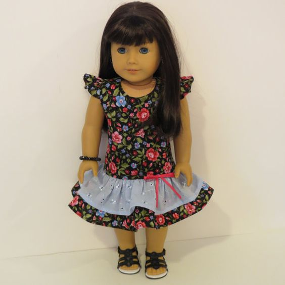 American Girl Doll Clothes  Drop Waist Dress by AmericAnnMade, $15.00