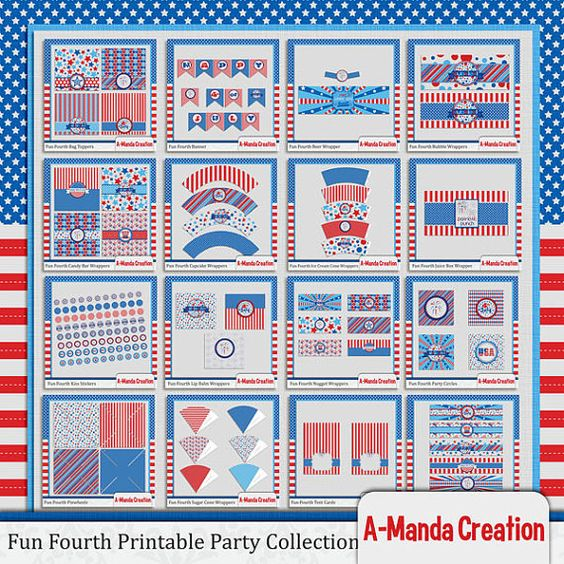 Fun Fourth, 4th of July Printable Party Bundle, comes with 16 different printables to help decorate and coordinate you patriotic party