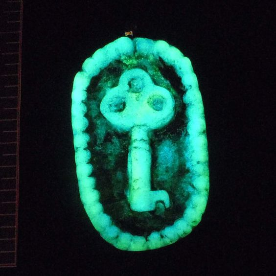Glow in the Dark Key Pendant in Black and Ivory by EyeGloArts, $45.00