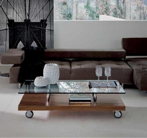 Mesa de centro de cristal y madera con ruedas mesas de - Mesas de centro de cristal y madera ...