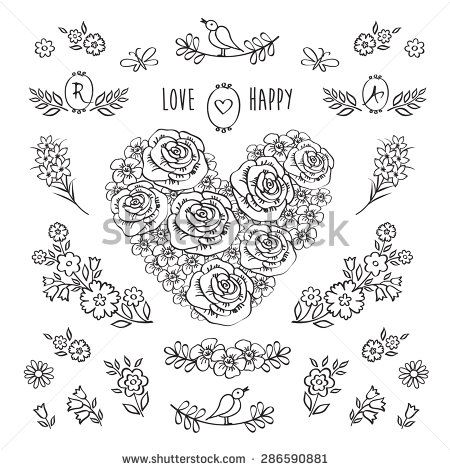 stock-vector-the-set-of-hand-drawn-decorative-floral-elements-for-valentine-s-day-mother-s-day-birthday-286590881.jpg (450×470)