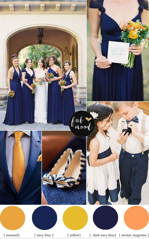 fabmood.com | Orange Navy blue and mustard yellow wedding colour palette
