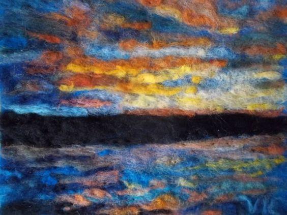 Cayuga lake sunset needle felt painting. by victoriaconnorsfelt