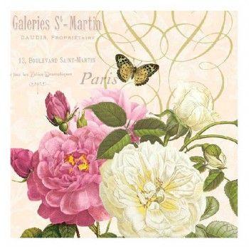 Servilletas para decoupage Rosas blancas y rosa 33 X 33 cm.