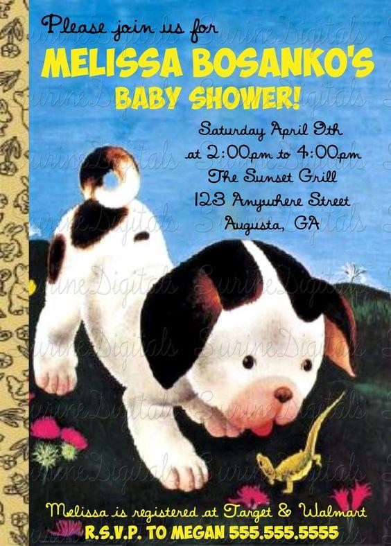 Little Golden Book Baby Shower Invitation/ Poky Little Puppy/ Baby Animals…