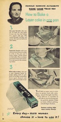 GENIUS ~ How to bake a layer cake in one pan. From 1950 True Story Magazine, article by Dione Lucas.
