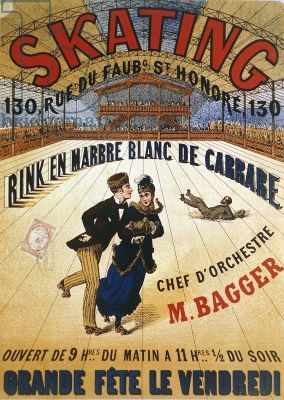 Poster advertising a roller skating rink in Paris, 1905 // AFFICHE SKATING pour la patinoire en marbre blanc de Carrare, 130 rue du Faubourg St Honoré, ouvert du 9h du matin à 11h1/2 du soir, grande fête le vendredi ! Chef d'orchestre M. BAGGER
