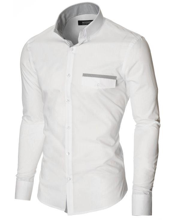 MODERNO Slim Fit Freizeit Herrenhemd (MOD1413LS) Weiß