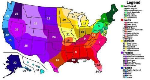 US Cultural Regions. | Map, 50 states travel, Region