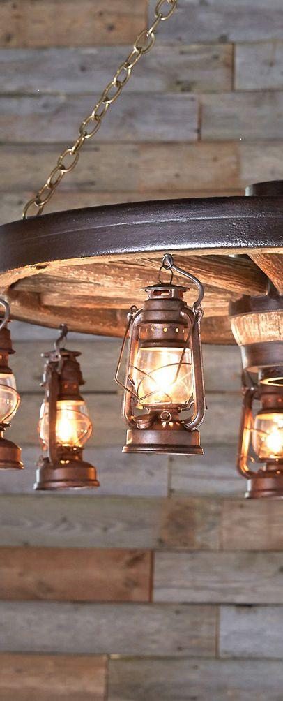 Rustic wagon wheel lantern lighting diy rustic for Diy rustic pendant light
