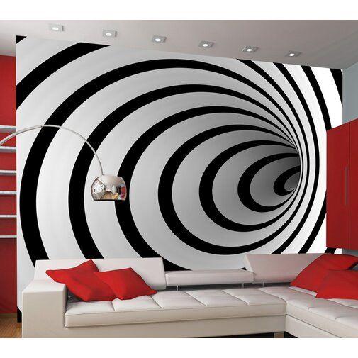 Black White 3d Tunnel 3 09m X 400cm Wallpaper In 2020 Wallpaper