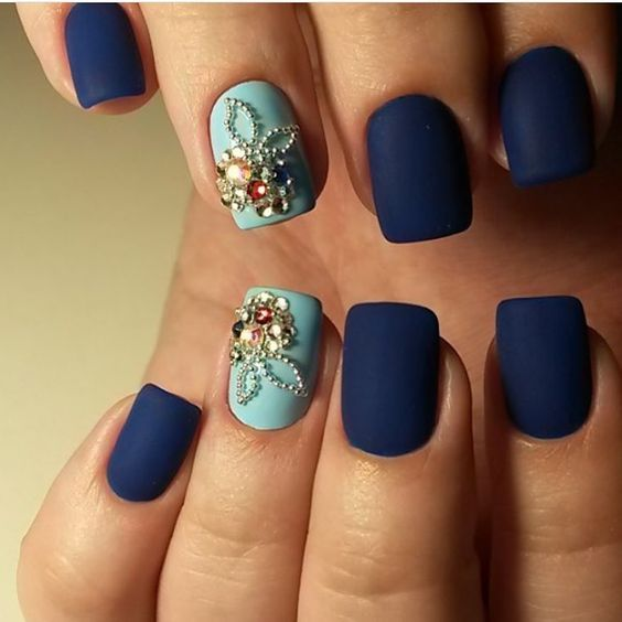 Blue matte nails, Christmas shellac, Evening dress nails, Evening nails, Ideas…: