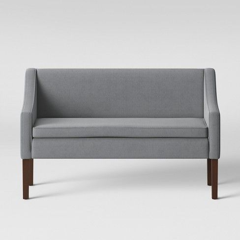 Nashua Settee Bench With Short Back Fabric Gray Threshold In 2020 Settee Bench Fabric Bench Upholstered Settee