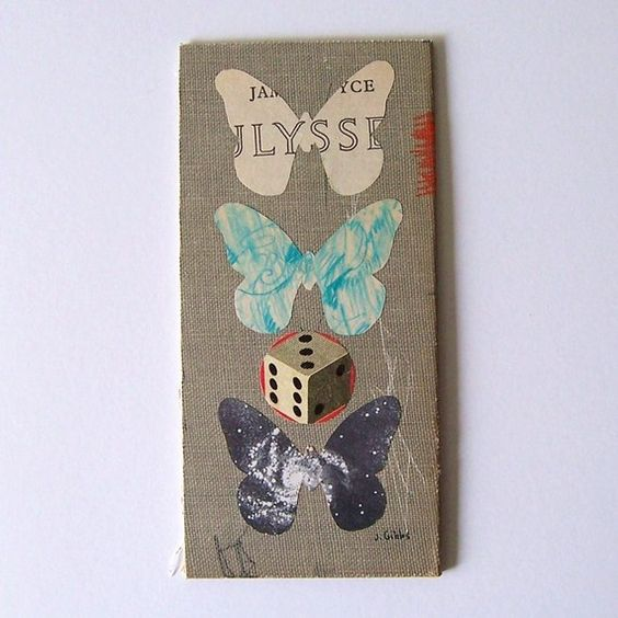 Odyssey by Jen Gibbs  original collage   vintage, book cover, art, butterflies, butterfly, james joyce, astronomy, recycled