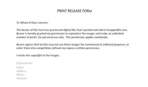 Photography Copyright Release Form Photographer Print Release Form