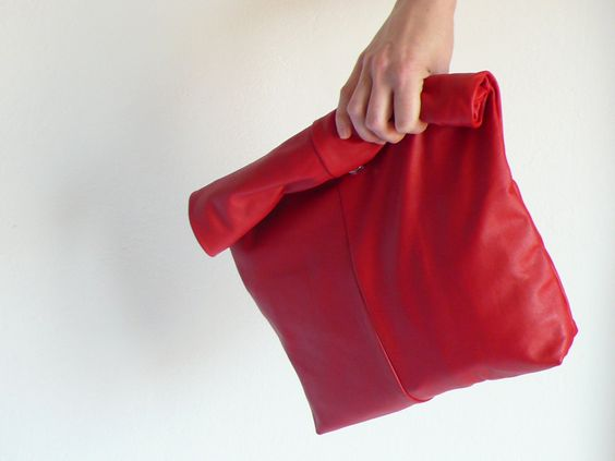 leather pouch, red, fold-over, rolled, up-cycled leather