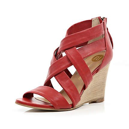 Red strappy sandal wedges £25.00