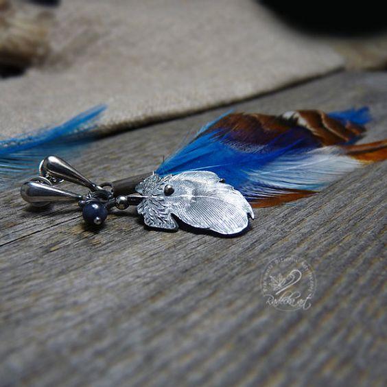Feather Earrings Asymmetric Earrings Bohemian by RadeckaArt