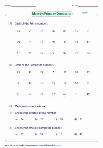 Prime And Composite Numbers Quiz Prime And Composite Numbers Composite Numbers Prime And Composite Prime and composite worksheets
