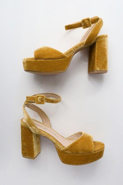 Theresa Golden Yellow Velvet Platform Heels Platform Heels