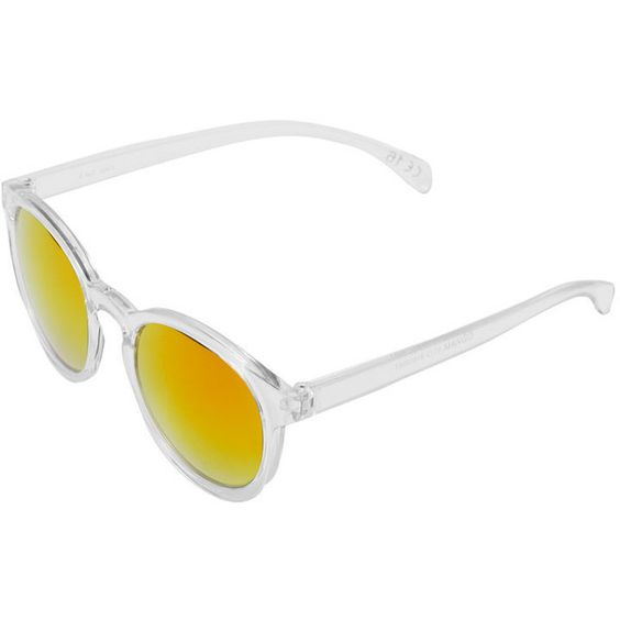 Round Mirrored Sunglasses (1.265 RUB) ❤ liked on Polyvore featuring accessories, eyewear, sunglasses, rounded sunglasses, mirrored sunglasses, mirror sunglasses, mirrored glasses and round eyewear
