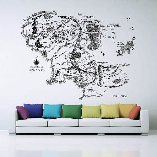 Map Of Middle Earth Lord Of The Rings Vinyl Wall Art Decal Wd