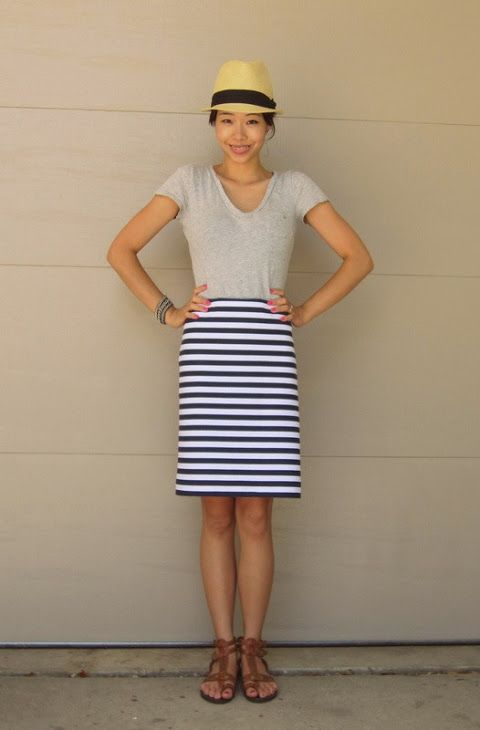 Navy blue striped pencil skirt – Modern skirts blog for you