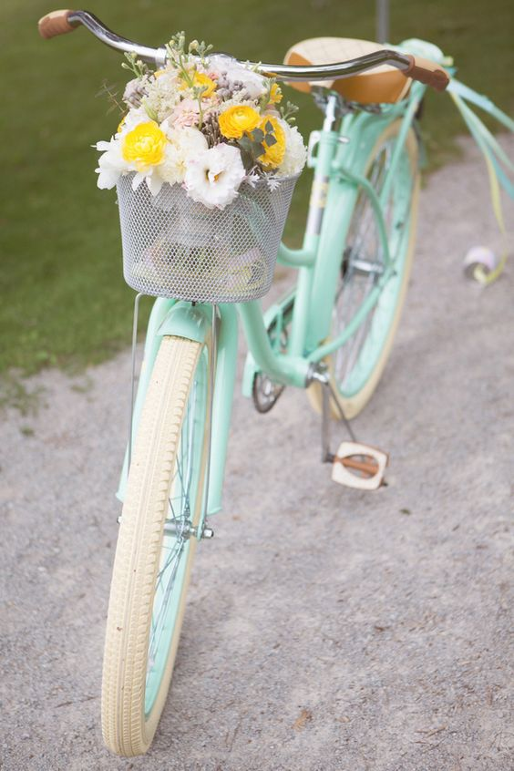 Pastel Mint Bicycle | Jessica Little Photography | Retro Candy Shop Anniversary Shoot: