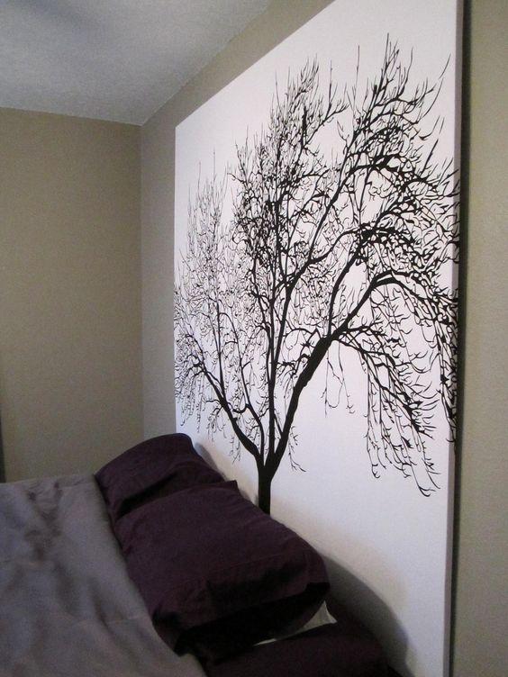 DIY Headboard (shower curtain + wooden frame)