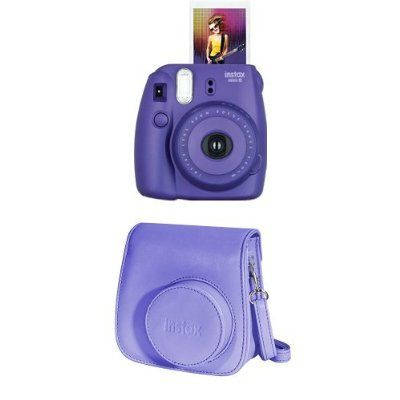 Fujifilm Instax Mini 8 Instant Film Camera + Instax Groovy Camera Case (Grape)